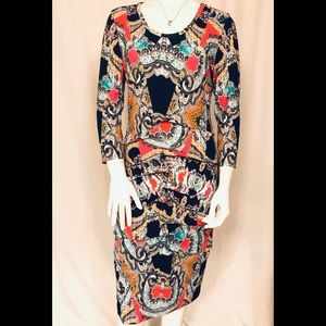 Nicole Miller Collection long sleeve paisley dress